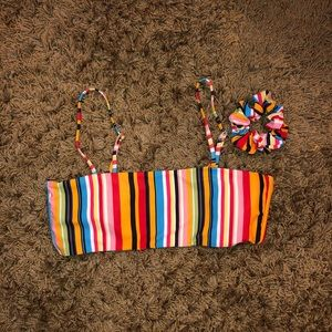 Striped bandeau swim top with straps & scrunchie